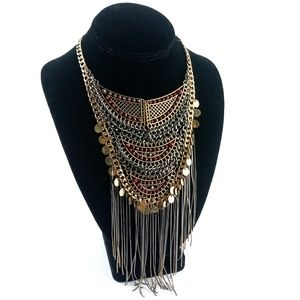 BoHo Hippie Mixed Metal & Ruby Layered Necklace